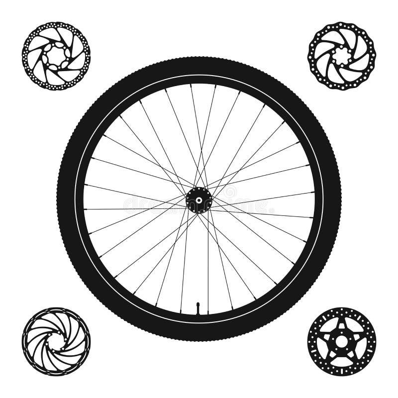Siluetta della ruota di bicicletta più 4 rotori del freno a disco delle forme differenti royalty illustrazione gratis