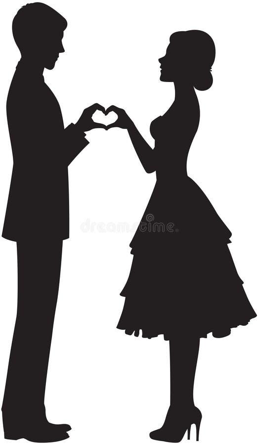 Siluetta della sposa e dello sposo illustrazione vettoriale