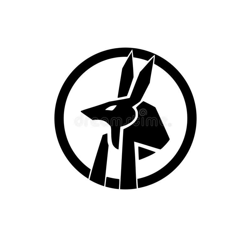 Siluetta della testa di Anubis in un cerchio illustrazione di stock