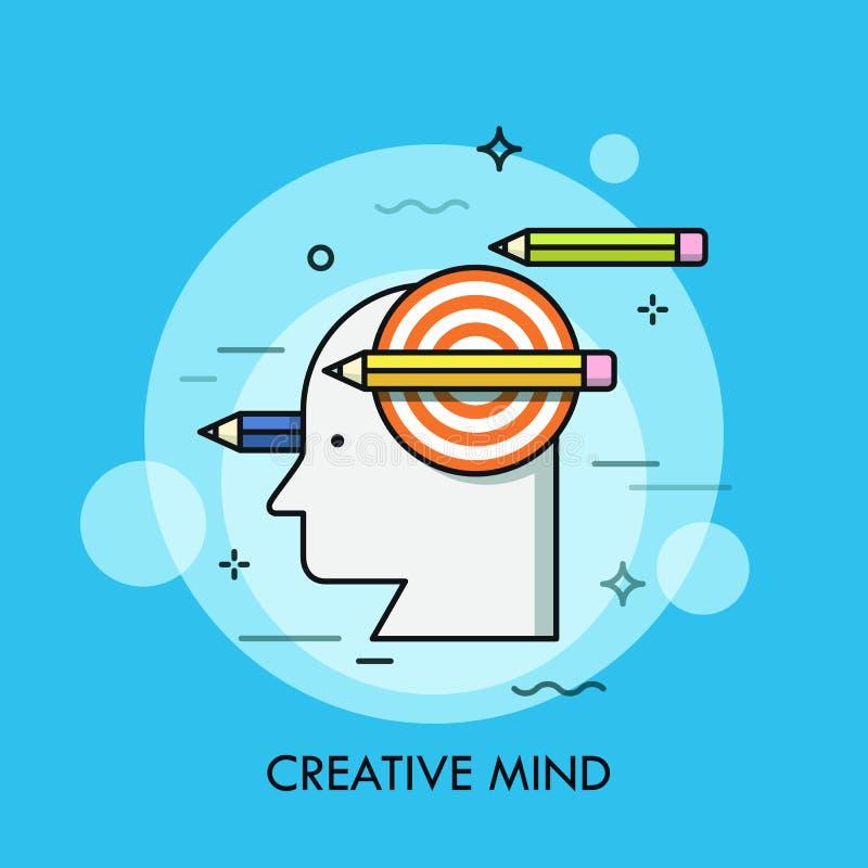Siluetta della testa umana, dell'obiettivo di fucilazione e delle matite Concetto della mente creativa, pensiero astuto, creativi illustrazione vettoriale