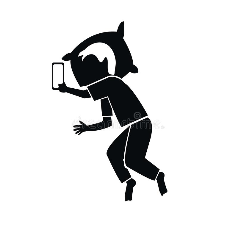 Siluetta delle cattive abitudini prima di andare a letto facendo uso di uno smartphone illustrazione di stock