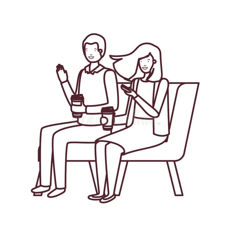 Siluetta delle coppie che si siedono nella sedia con il caffè di plastica del contenitore illustrazione vettoriale