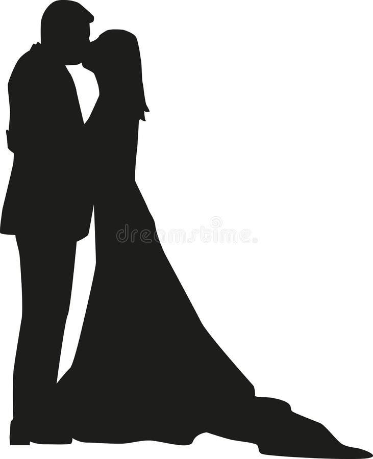 Siluetta delle coppie di nozze illustrazione di stock