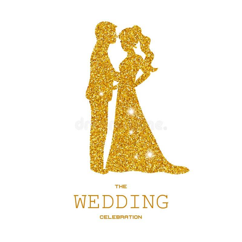 Siluetta delle coppie di nozze con gli scintilli dell'oro illustrazione di stock