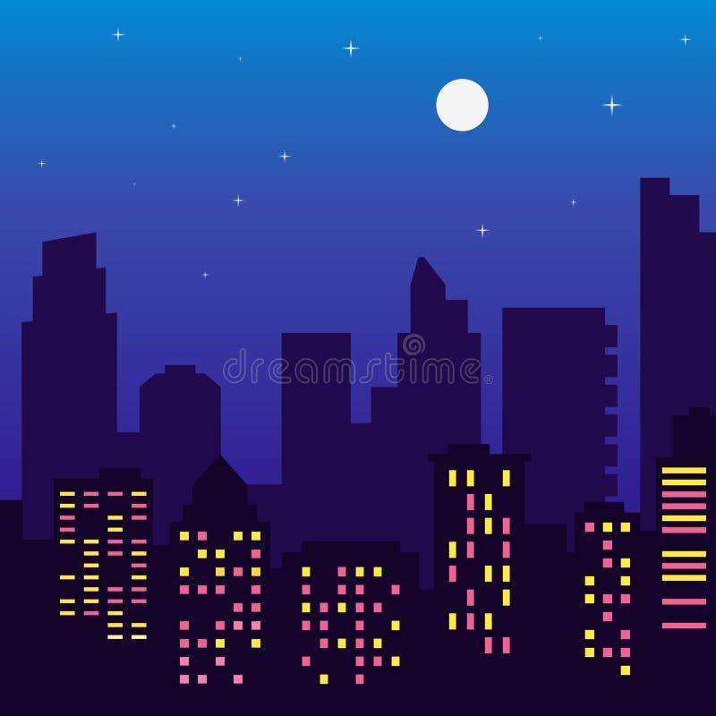 Siluetta delle costruzioni con le finestre variopinte, luna piena, s di notte royalty illustrazione gratis