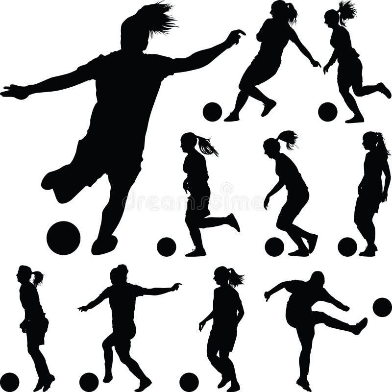 Siluetta delle donne di calcio giocatore della ragazza fotografie stock