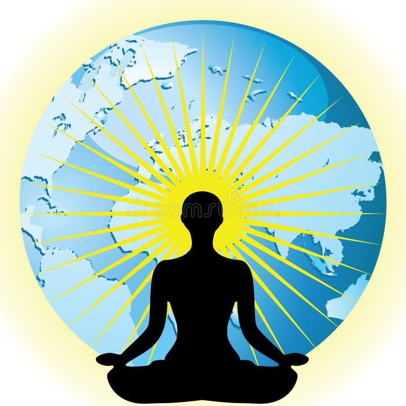 Siluetta delle donne di yoga nel loto del fiore di posa sull'illustrazione di vettore del globo della terra royalty illustrazione gratis