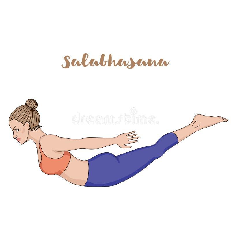 Siluetta delle donne Posa di yoga della locusta Salabhasana illustrazione di stock