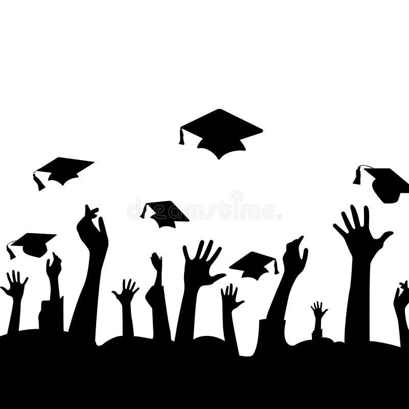 Siluetta delle mani in aria e nei cappelli di graduazione illustrazione vettoriale