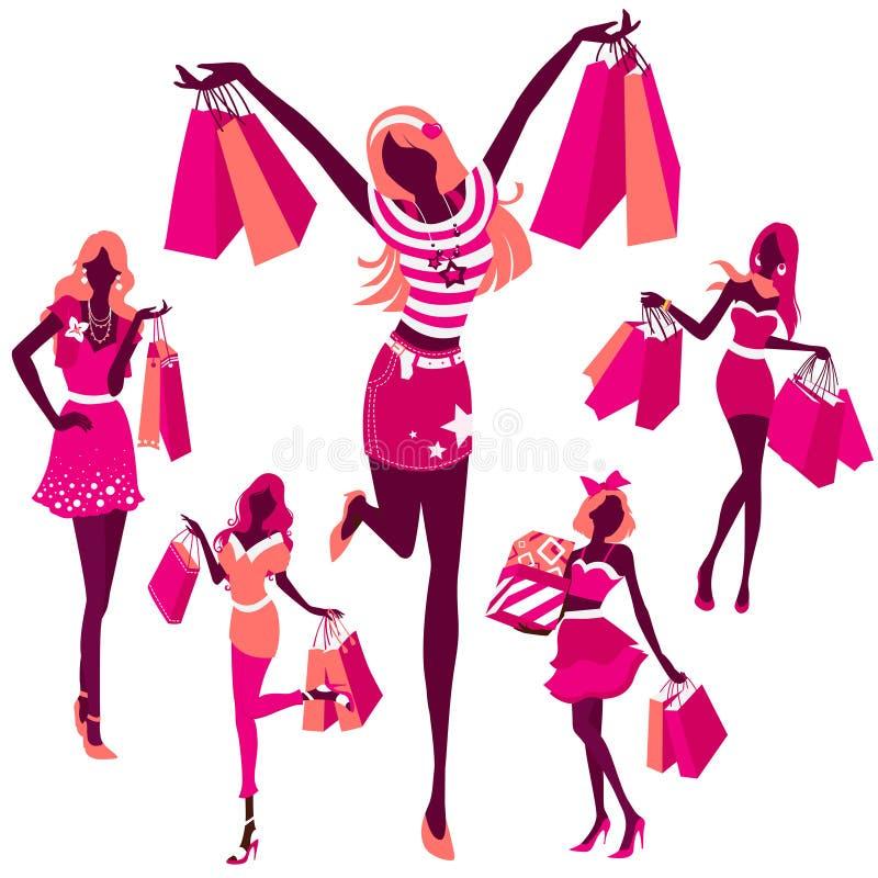 Siluetta delle ragazze con le borse illustrazione di stock