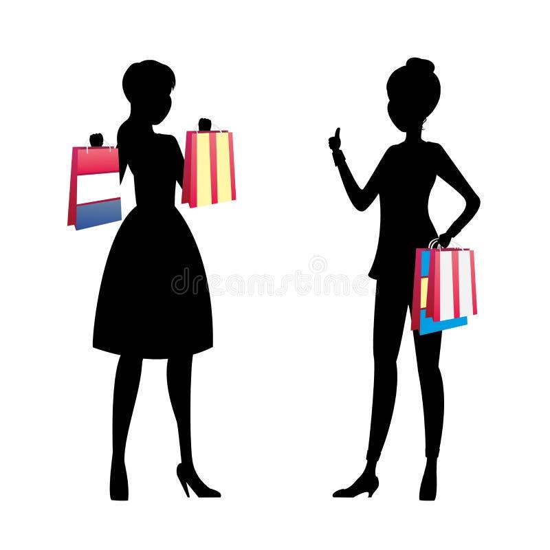Siluetta delle ragazze di modo con la conversazione dei sacchetti della spesa illustrazione di stock
