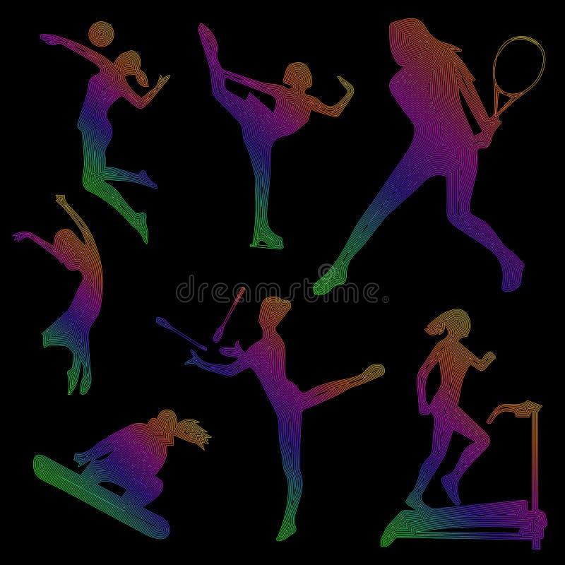 Siluetta delle ragazze di sport, icone di sport, siluetta colorata di una ragazza su un fondo nero, arte lineare, vettore illustrazione di stock