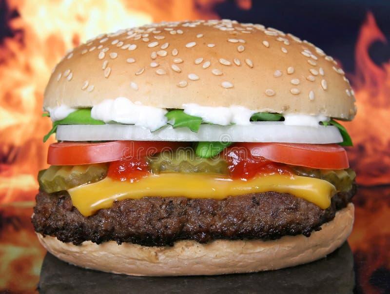 Siluetta delle verdure del giardino dell'hamburger e di estate del formaggio immagini stock