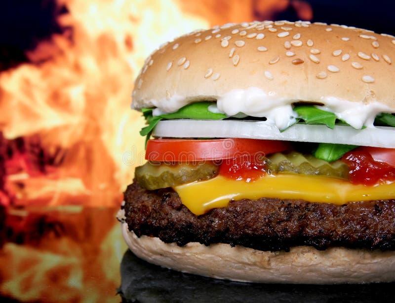 Siluetta delle verdure del giardino dell'hamburger e di estate del formaggio fotografia stock libera da diritti