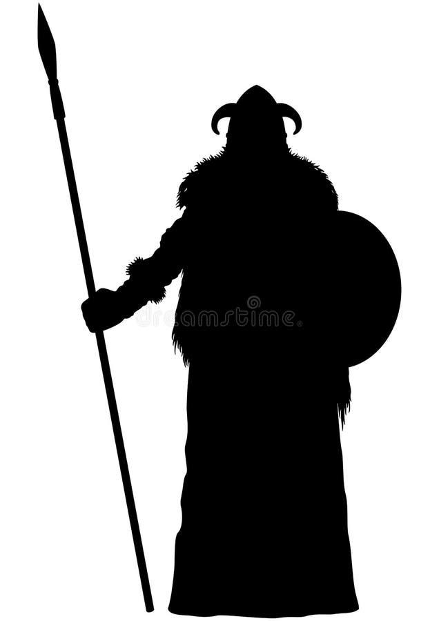 Siluetta dello spearman di Viking immagine stock libera da diritti