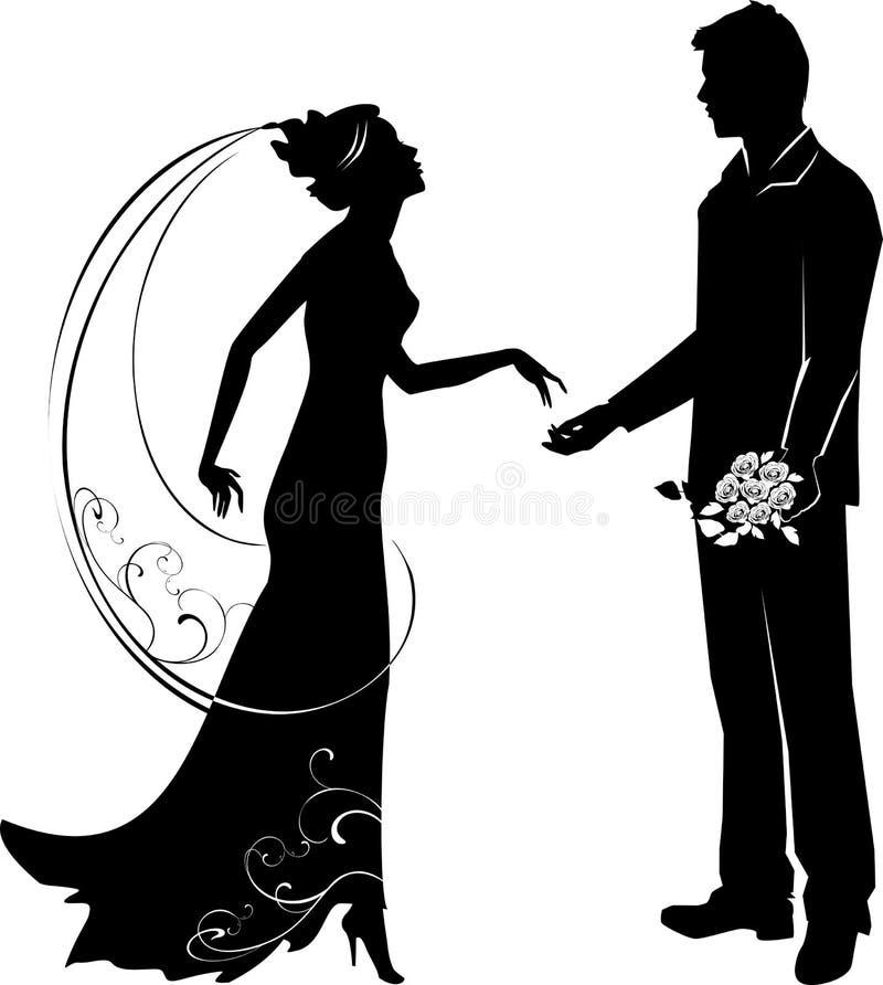 Siluetta dello sposo e della sposa illustrazione vettoriale