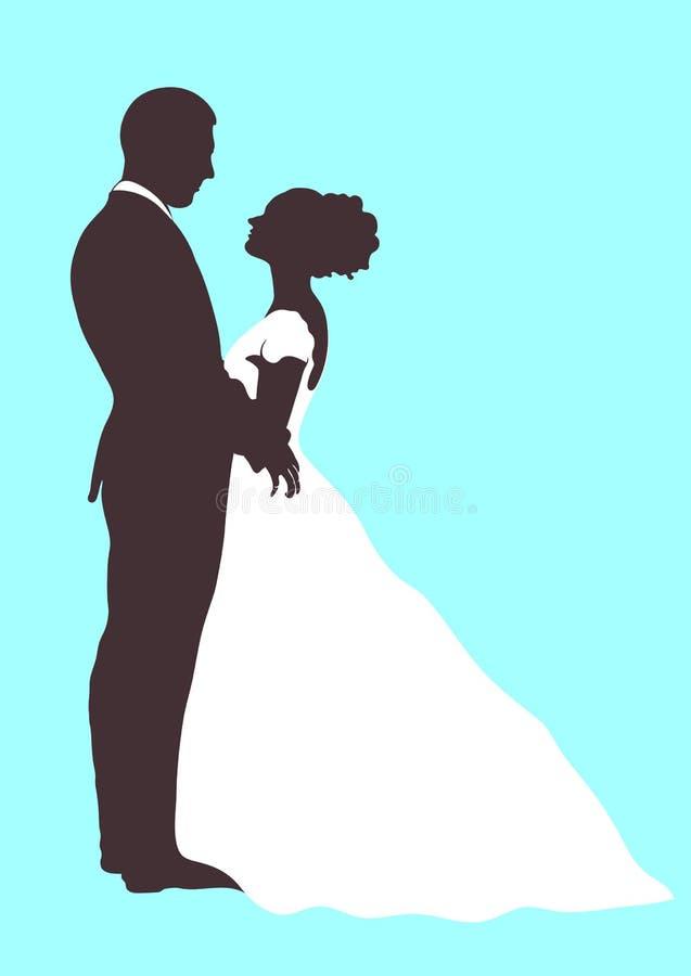 Siluetta dello sposo e della sposa, icona di vettore, disegno di contorno del fumetto del profilo Coppie nell'amore che abbraccia illustrazione vettoriale
