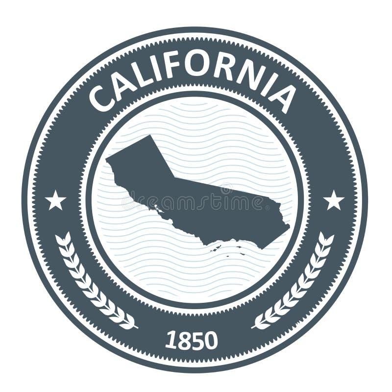 Siluetta dello stato di California - bollo illustrazione di stock
