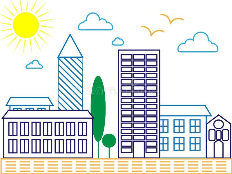 Siluetta dettagliata dell'orizzonte della città Illustrazione d'avanguardia di vettore, linea stile di arte Vettore royalty illustrazione gratis