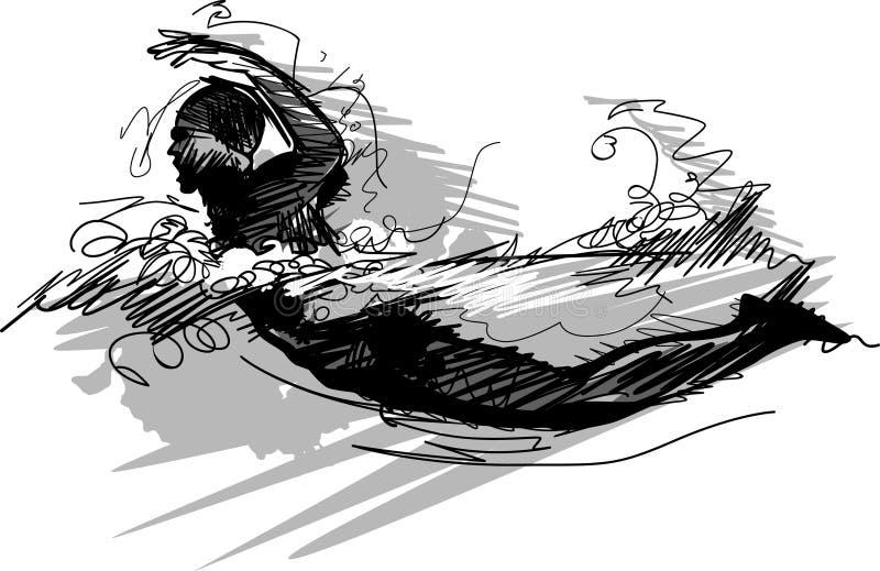 Siluetta di abbozzo di nuoto royalty illustrazione gratis