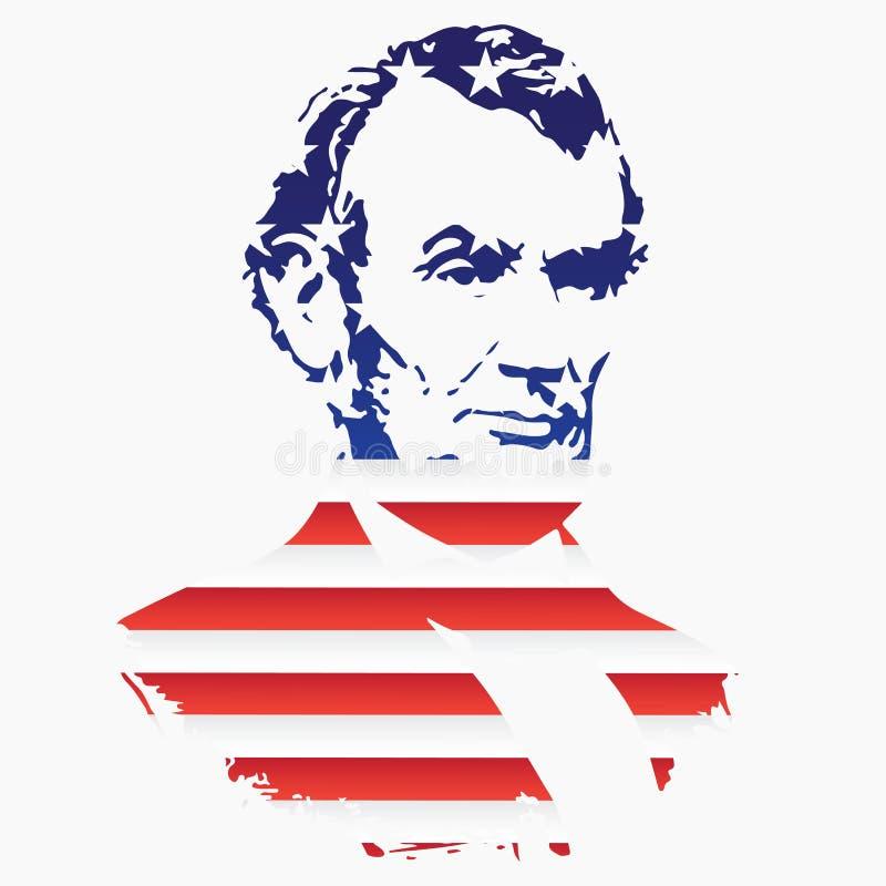 Siluetta di Abraham Lincoln From la struttura della bandiera nazionale degli Stati Uniti royalty illustrazione gratis