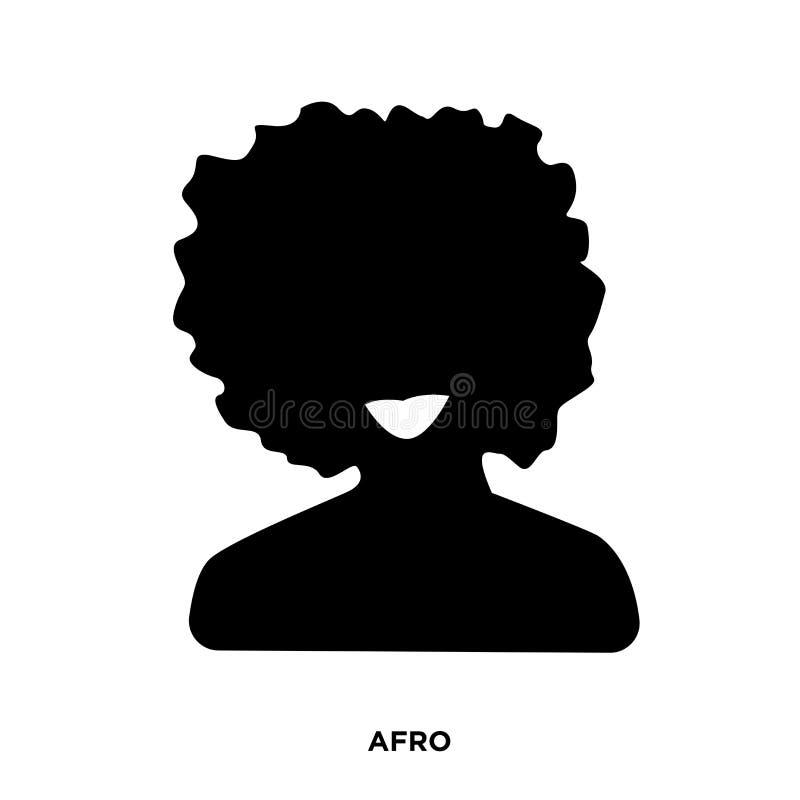 siluetta di afro su fondo bianco, potrait nel nero illustrazione di stock