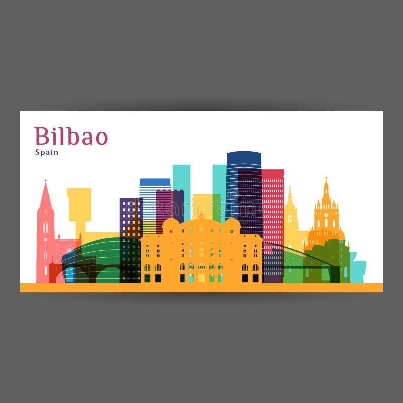 Siluetta di architettura della città di Bilbao royalty illustrazione gratis