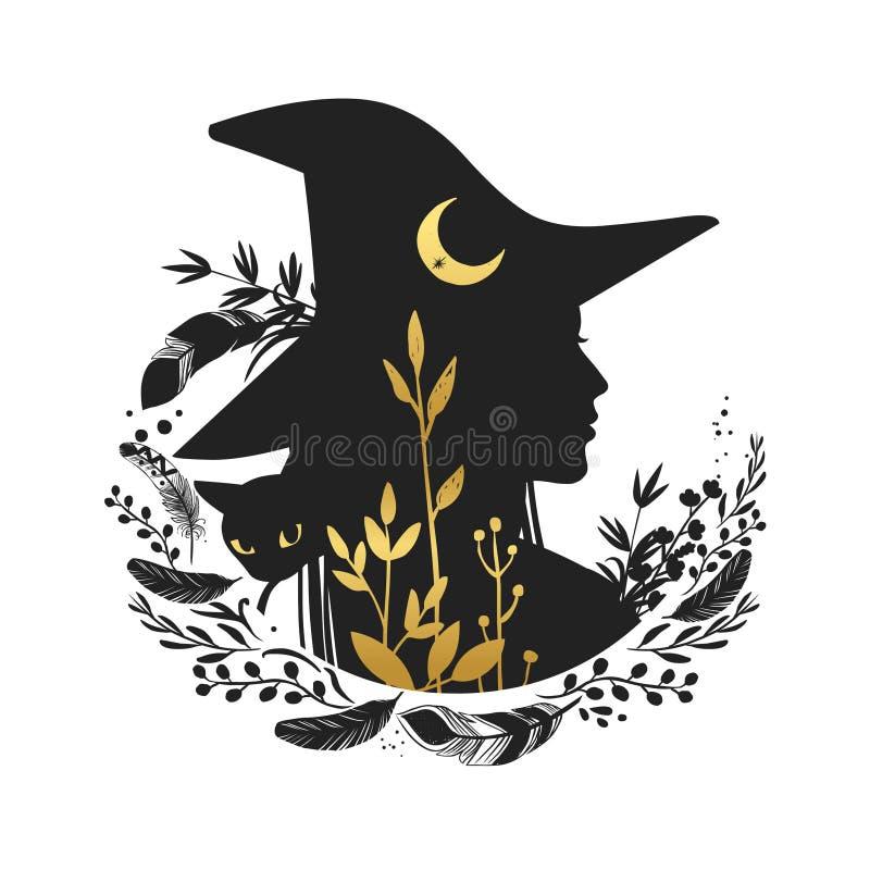 Siluetta di bella giovane strega con la luna e le erbe selvagge Illustrazione di vettore illustrazione vettoriale