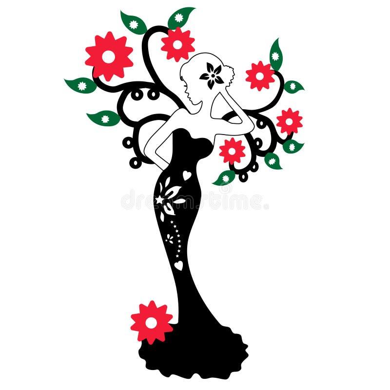 Siluetta di bella ragazza che sta vicino all'albero del fiore, illustrazione di vettore immagini stock libere da diritti