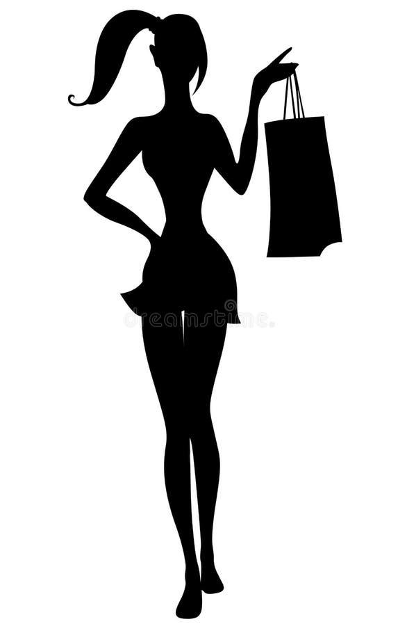 Siluetta di bella ragazza con i sacchetti della spesa a disposizione illustrazione vettoriale