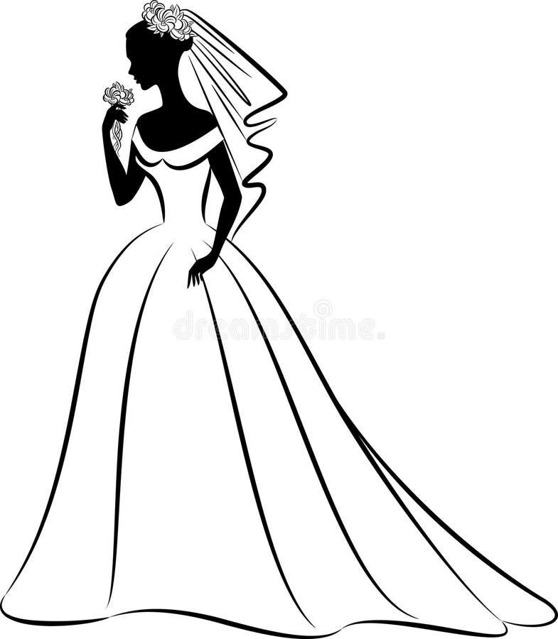 Siluetta di bella sposa in vestito. fotografia stock