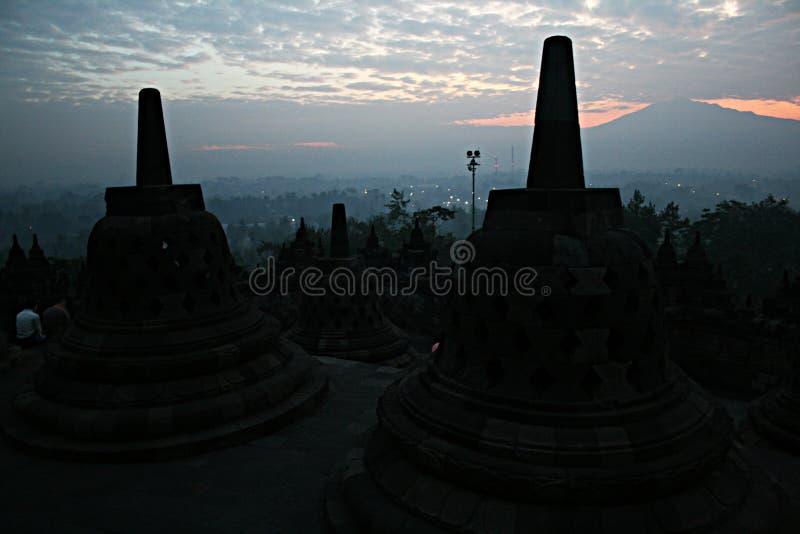 Siluetta di Borobudur immagine stock libera da diritti