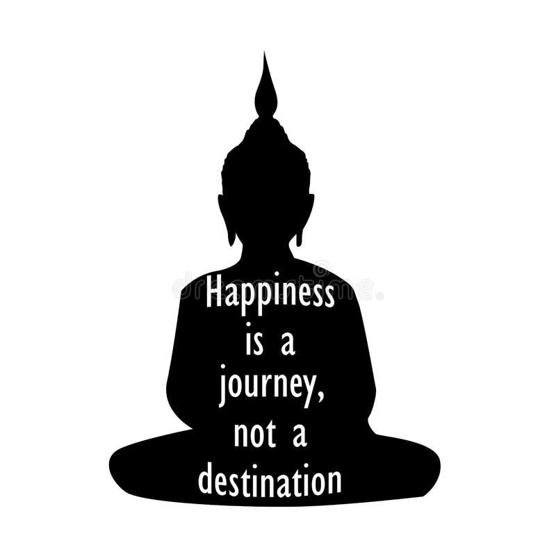 Siluetta di Buddha con la citazione ispiratrice illustrazione vettoriale