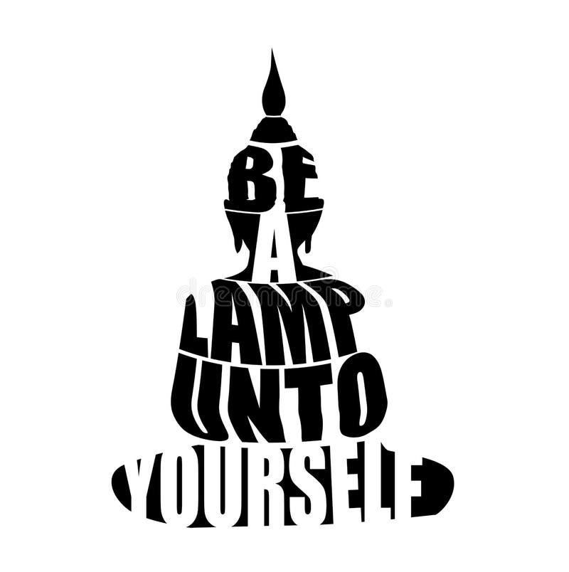 Siluetta di Buddha con la citazione ispiratrice royalty illustrazione gratis