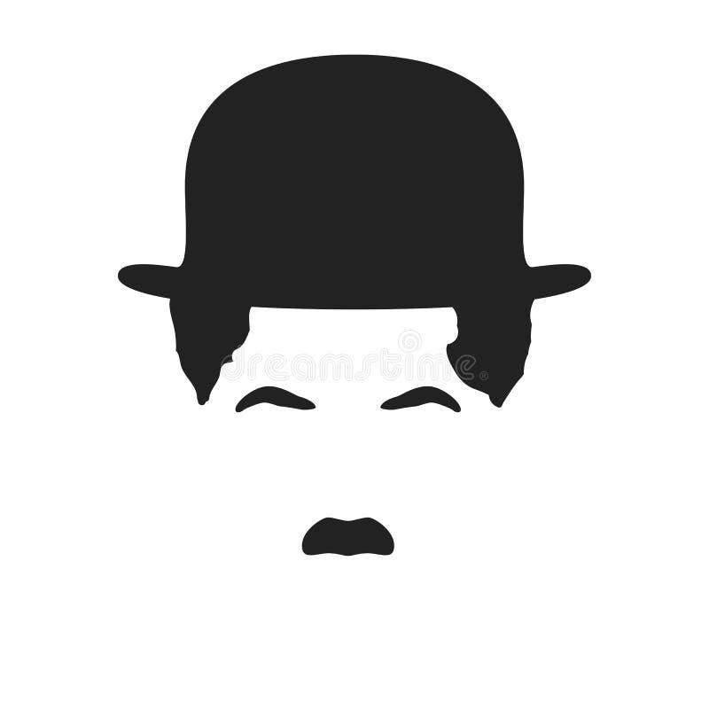 Siluetta di Charlie Chaplin in un cappello, isolato su un bianco Illustrazione di vettore royalty illustrazione gratis