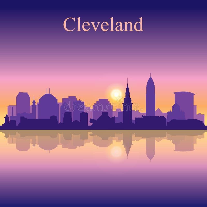 Siluetta di Cleveland sul fondo di tramonto royalty illustrazione gratis