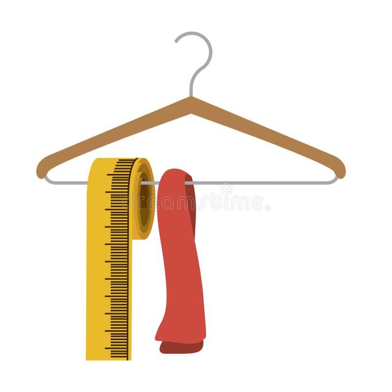 siluetta di colore con la camicia del gabinetto del gancio e nastro adesivo di misura illustrazione di stock