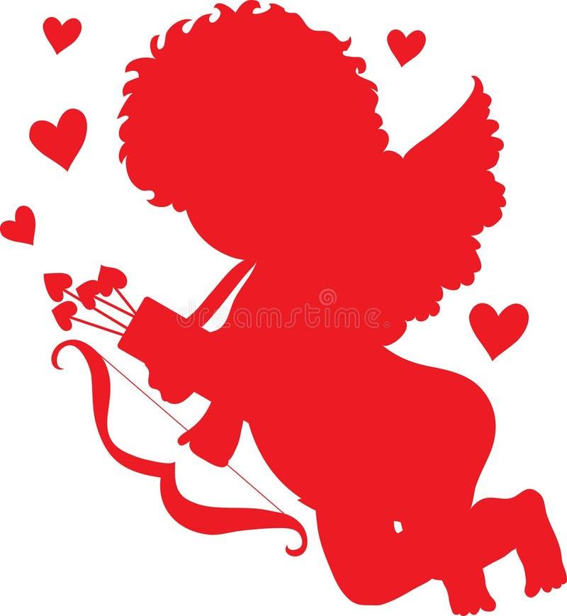 Siluetta di colore rosso del Cupid illustrazione vettoriale
