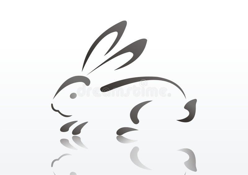 Siluetta di coniglio illustrazione di stock