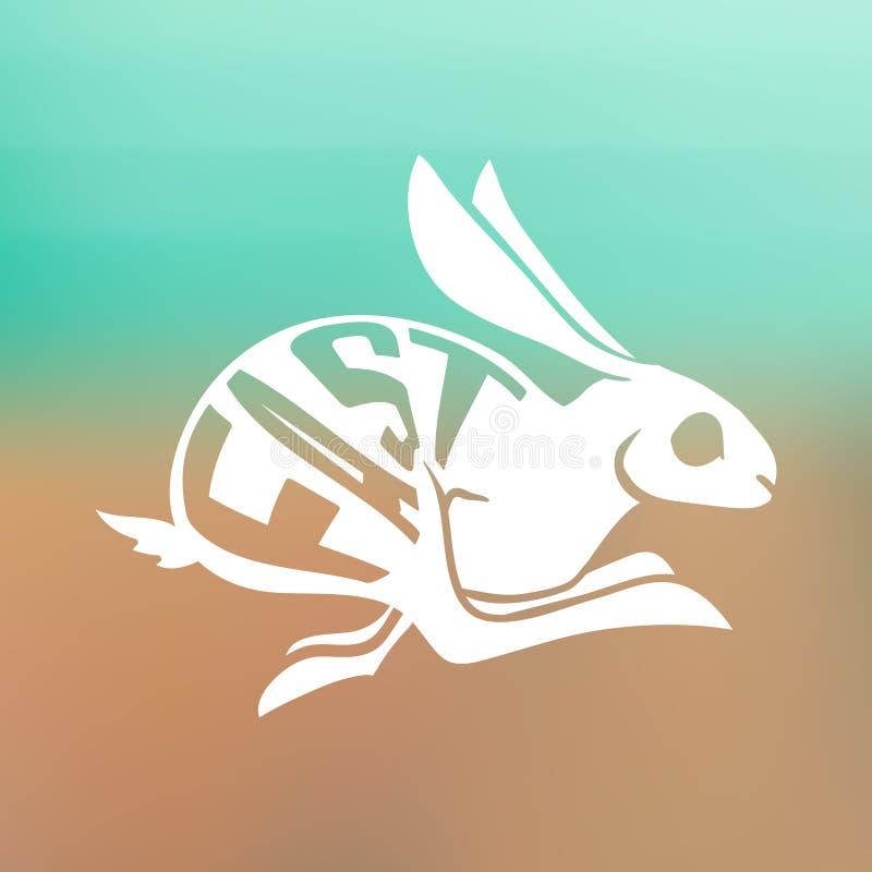 Siluetta di coniglio veloce con testo dentro sul fondo della sfuocatura illustrazione vettoriale