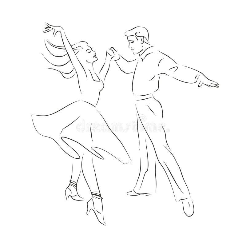 Siluetta di contorno di una coppia ballante illustrazione di stock