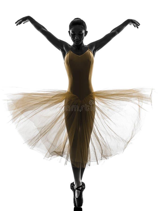Siluetta di dancing del ballerino di balletto della ballerina della donna fotografia stock