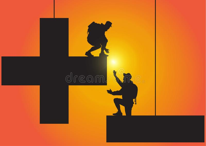 Siluetta di due persone che scala dal segno meno al più sul fondo di alba, sulla mano amica e sul concetto dorati di assistenza royalty illustrazione gratis