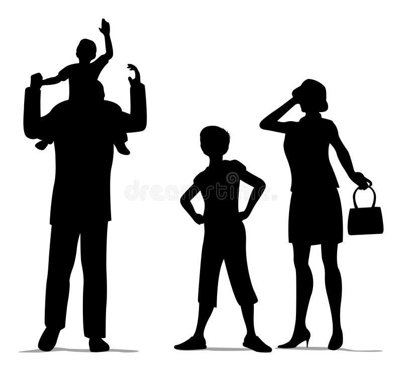 Siluetta di famiglia di quattro royalty illustrazione gratis