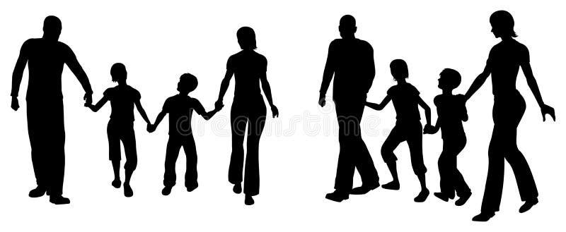 Siluetta di famiglia di quattro di vettore illustrazione vettoriale