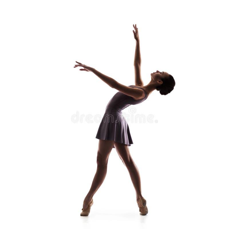 Siluetta di giovane bello ballerino isolato immagine stock libera da diritti