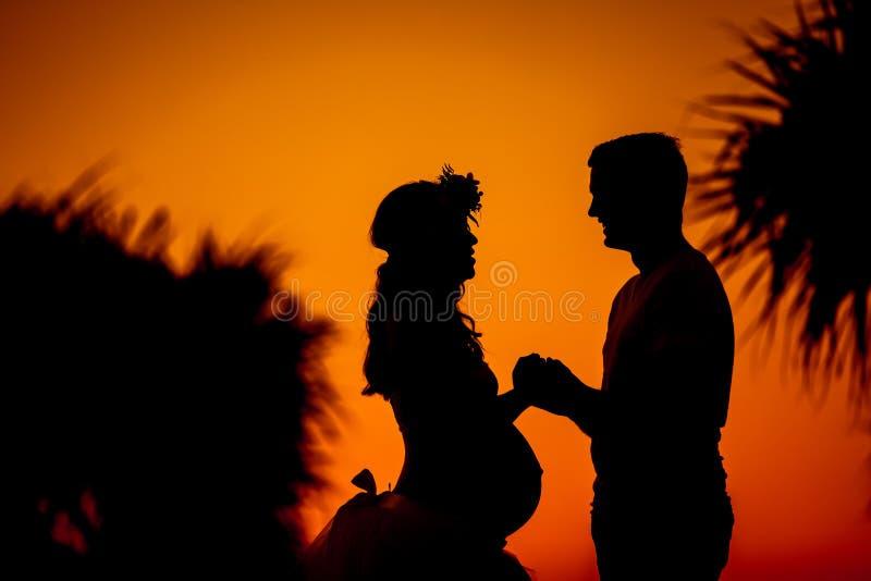 Siluetta di giovani coppie che prevedono bambino che si tiene per mano durante la s immagini stock libere da diritti