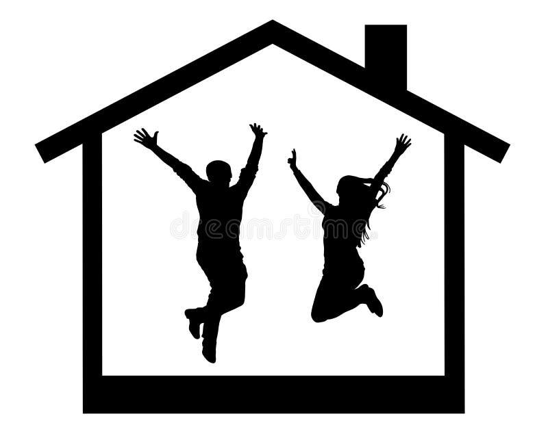 Siluetta di giovani coppie felici che saltano nella stanza della casa illustrazione vettoriale