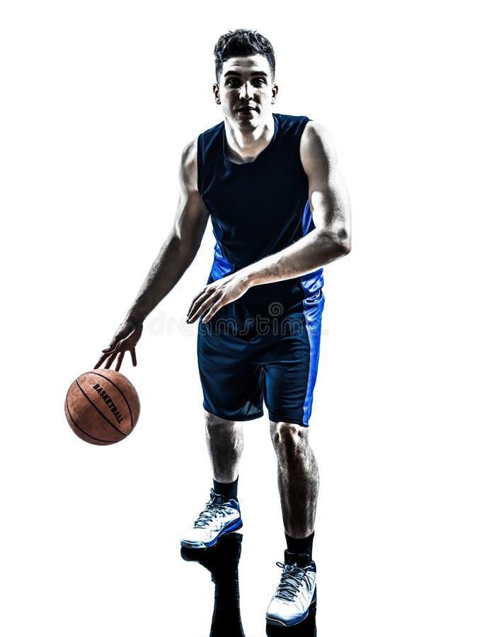 Siluetta di gocciolamento del giocatore di pallacanestro caucasico dell'uomo fotografia stock