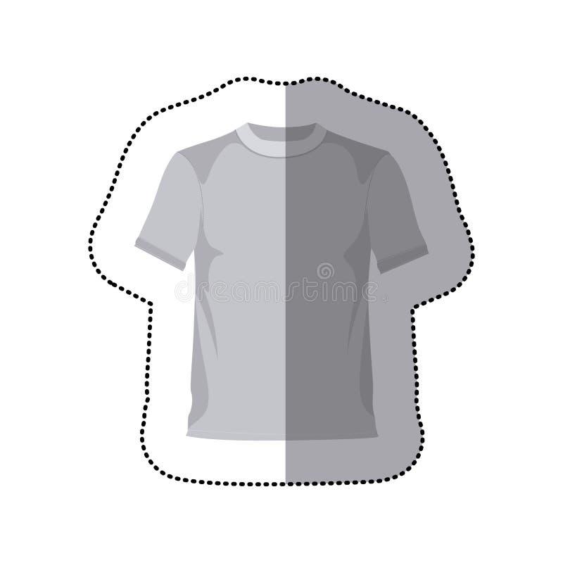 siluetta di gradazione di grigio dell'autoadesivo con la maglietta maschio illustrazione di stock